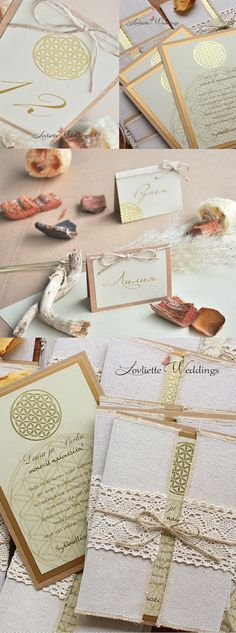 Flower of life styled rustic wedding with gold hues and cotton lace   https://www.etsy.com/listing/244281945/flower-of-life-wedding-invitation?ref=shop_home_active_3  #FlowerOfLife #LovlietteWeddings #RusticWedding #GoldWedding #FlowerOfLifeWedding