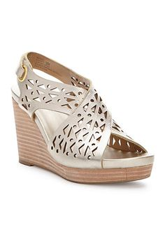 Geometric cutouts and a stacked wedge define the resort-ready appeal of this bold sandal. Women's Shoes Sandals, Wedge Sandals, Wedge Shoes, Heels, Pretty Shoes, Cute Shoes, Leather Wedges, Womens Shoes Wedges, Huaraches