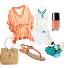 """Coral & Turquoise"" by skyleen on Polyvore"