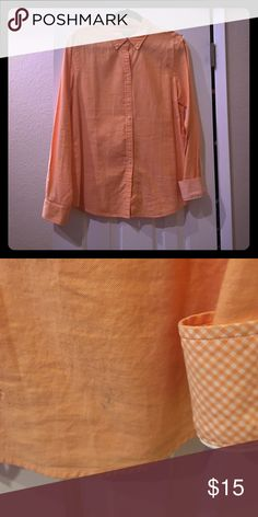 Banana Republic button down Great condition. Slight stain on bottom left of shirt as pictured. Soft linen material. Sz. L Banana Republic Tops Button Down Shirts