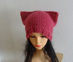 Raspberry Pink Cat hat Chunky beanie Knit Winter hat by Ifonka