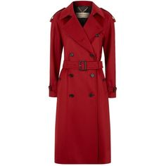 Burberry Cashmere Trench Coat (€2.270) ❤ liked on Polyvore featuring outerwear, coats, cashmere coat, sport coat, button coat, button trench coat and red cashmere coat