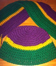 Handmade crochet Mardi Gras hat and scarf set by DesignsbyTiffanyJ, $30.00