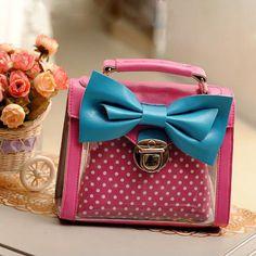 Candy Dot Print Bowknot Handbag Shoulder Bag