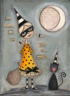 Print of my original folk art mixed media painting-She Believed in the Magic of Moonlight