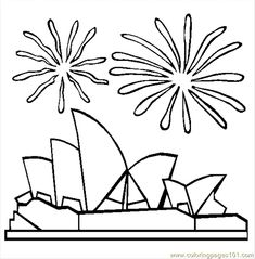 Free Australia Day Coloring Pages. Color in this picture of Sydney Opera House and others with our library of online coloring pages. House Colouring Pages, Online Coloring Pages, Cute Coloring Pages, Coloring Pages For Kids, Free Coloring, Australia Day Fireworks, Australia Day Celebrations, Felt Templates, Felt Patterns