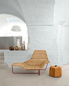 White washed walls and straw furniture -