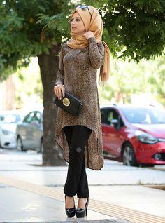Line Tunic - Brown - Zehrace Muslim Women Fashion, Modern Hijab Fashion, Islamic Fashion, Modest Fashion, Fashion Outfits, Hijab Dress, Hijab Outfit, Stylish Hijab, Hijabi Girl