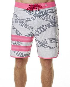 7747936e466e91 Hurley Mens Phantom Julian Snapper Fashion Board Shorts Grey/Pink    Amazon.com
