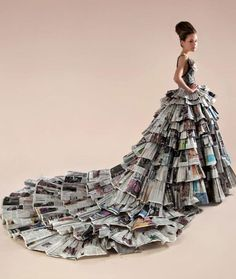 upcycled couture - fashion magazines come alive into a ball gown with train.....TALK ABOUT FASHION!