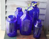 Cobalt Blue Glass Bottle Lot  Display Bottles  Cobalt Glass  Bottle Collection  Decorative Bottles  Collectibles  Blue Glass