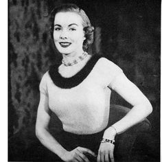 This Angora Trimmed Blouse Knitting Pattern, vintage 1950s, would be almost certain to make you feel like a star with each wearing.   The knit pattern, with crochet detail, is sized 12, 14, 16 and 18.