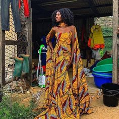 Image may contain: 1 person, standing and outdoor African Fashion trends African Prom Dresses, Latest African Fashion Dresses, African Inspired Fashion, African Print Fashion, African Prints, African Fabric, Short Dresses, African Attire, African Wear
