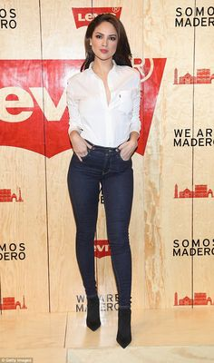 Eiza Gonzalez shows off her long legs in dark denim for Levi's Mexico City flagship opening - March 2018