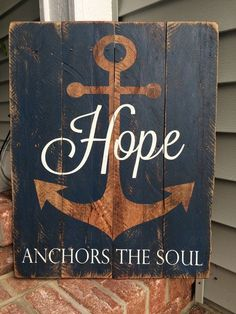 Wood Pallets Hope Anchors the Soul Reclaimed Pallet Wood by SignsfromthePines - Wood Pallet Signs, Pallet Art, Wood Pallets, Wooden Signs, Pallet Benches, Pallet Tables, Outdoor Pallet, 1001 Pallets, Recycled Pallets