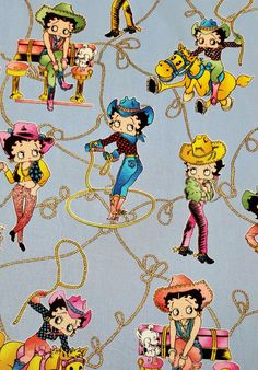 Betty Boop Cowgirl Cotton Fabric One Yard King Features Syndicate Fleischer…