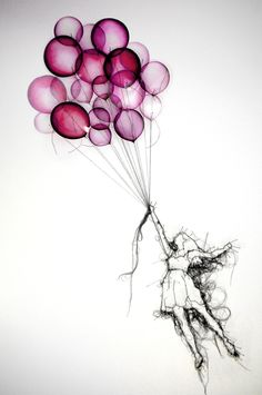 http://debbie-smyth.com/mixed-media/ Balloon Girl, by Debbie Smyth. Pin and thread drawing with printed elements