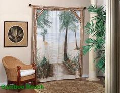 Bamboo Beach Trompe l'oeil Window Art Beach Curtains, Bamboo Curtains, Outdoor Curtains, Window Drapes, Window Art, Drapes Curtains, Curtain Panels, Valances, Shower Curtains