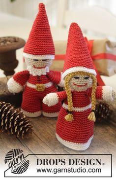 """DROPS Kerst: gehaakte Kerstman en Kerstvrouw van """"Cotton Viscose"""". ~ DROPS Design"""