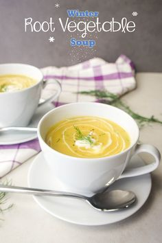 Winter Root Vegetable Soup -- dairy free and vegan options! A comforting bowl of winter.