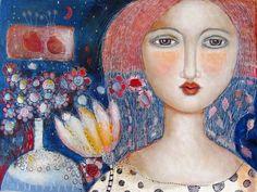 Techniques mixtes peinture originale moderne Folk Art expressif pluie de fleurs de jardin femme toile navire gratuit aux États-Unis et au Canada