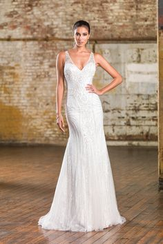 Justin Alexander Signature  V-Neck Metallic Silk Fit and Flare Bridal Gown