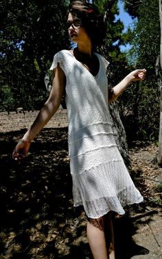 Knit lace white wedding dress flapper 1920's by MurielleKnitwear, $295.00..would be nice for reception