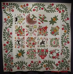 Reiter Family Quilt 1848 - 1850 -   wool and cotton.  American Folk Art Museum
