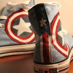 Captain America Converse!! Etsy