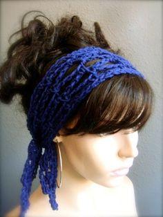 Navy Hand Crochet Hair Scarf   byKEONA - Accessories on ArtFire