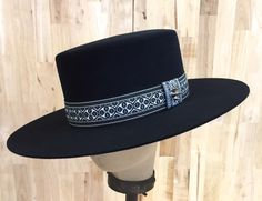 SOLD  black beaver blend fur felt western hat bolero style with woven ribbon hatband with silver stud accent by hatWRKS on Etsy https://www.etsy.com/listing/237079958/black-beaver-blend-fur-felt-western-hat