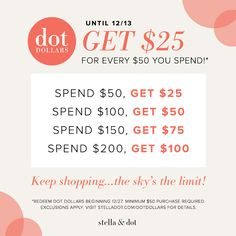 Dot Dollars has started at Stella & Dot!  Shop www.stelladot.com/sharonmaguire now, get discount codes to shop later!