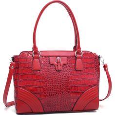 Dasein Fashion Matte Croco Shoulder Bag with Belt Accent & Bonus Strap