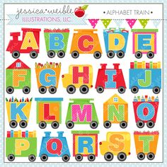 Alphabet Train - set includes 26 graphics. Perfect for educational use, scrapbooking, crafts and more.