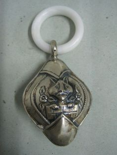 Antique Rattle Baby silver with a rabbit and flowers