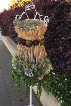 DIY Tutorial - Burlap & Succulents on a Wire Dress Form