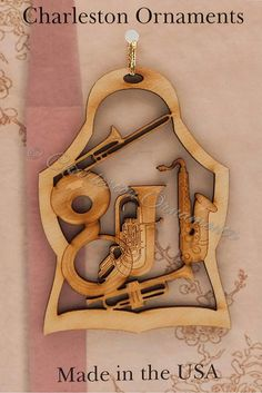 Unique Brass Instruments Wooden Ornament, Includes Saxaphone, French Horn, Trumpet, Trombone and Sousaphone