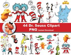 The 93 best dr seuss themed birthday party images on pinterest 44 x dr seuss printable digital clipart graphic instant download the cat in the hat fandeluxe Images