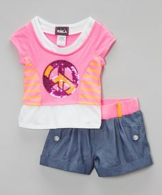 This Pink Layered Peace Tee & Chambray Shorts - Girls is perfect! #zulilyfinds