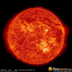 The hourly sun (at 01:44 am  UTC on  3 June 2013)