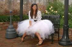 Tea Length White Tulle Tutu Style Skirt for prom, party, portraits.. $85.00, via Etsy.