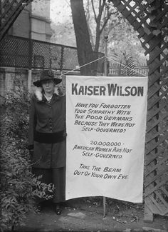"""Alice Paul """"Kaiser Wilson"""" protest banner, women's suffrage, courtesy of the Library of Congress"""