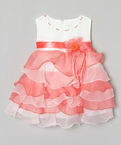 Look what I found on #zulily! Peach & White Ruffle Tiered Dress - Infant #zulilyfinds