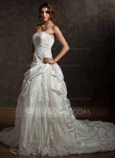 Wedding Dresses - $326.99 - Ball-Gown Strapless Chapel Train Taffeta Lace Wedding Dress With Ruffle Beadwork Sequins (002012036) http://jjshouse.com/Ball-Gown-Strapless-Chapel-Train-Taffeta-Lace-Wedding-Dress-With-Ruffle-Beadwork-Sequins-002012036-g12036