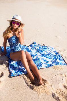 Aimee Song :: Stone Cold Fox x Beach Riot Palm Beach Swimsuit + Beach Riot Mirrored Aviator Sunglasses