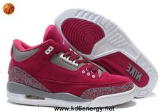 Women Air Jordans 3 III Fluff Burgundy Grey White