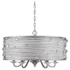"Featuring a hand-wrapped wire frame and clear glass jewels, this chic pendant fills your home with shimmering intrigue. Let it cast a warm glow as you greet guests in the foyer, or add dramatic flair by suspending it over your dining table.    Product: Pendant Construction Material: Steel, wire and glass Color: Peruvian silver Features: UL and cUL listed for dry locations 72"" Chain and 120"" wire included Hand-wrapped frame Accommodates: (5) 60 Watt incandescent type B bulbs - not ..."