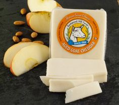 Our multi-award-winning aged goat cheddar is deliciously smooth, nutty and slightly sweet, with a robust cheddar flavor. Queso Cheese, Goat Cheese, Cheddar Cheese, How To Make Cheese, Apple Crisp, Goat Milk, A Table, Goats, Stuffed Mushrooms