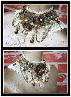 Steampunk Necklace  Steampunk Jewelry  by AngelaVenableArt on Etsy