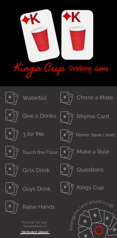 Kings Cup Drinking Rules! Get the rules for each cards in the popular drinking card game, Kings Cup.
